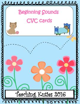 Beginning Sounds CVC word cards Freebie