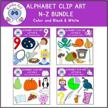 Beginning Sounds Clip Art Bundle N-Z Alphabet