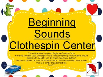 Beginning Sounds Clothespin Activity