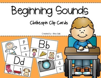 Beginning Sounds Clothespin Clip Cards