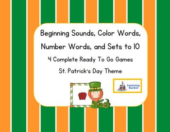 Beginning Sounds, Color Words,  Number Words, and Sets to