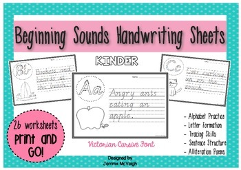 Beginning Sounds and Alliteration Poems Handwriting Sheets