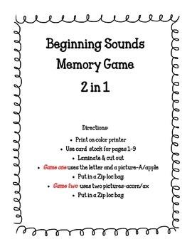Beginning Sounds Memory Game