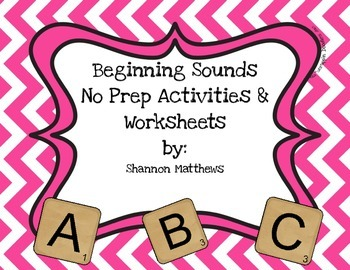Beginning Sounds No Prep Activities and Worksheets