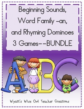 Beginning Sounds, Word Family an , and Rhyming Dominoes Bundle