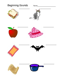 Beginning Sounds activity page