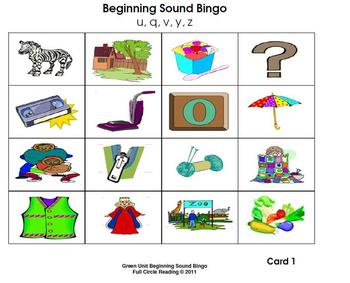 Beginning Sounds and Letters - Bingo Cards 5