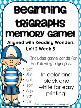 Beginning Trigraph Memory Game---Aligned with Reading Wond