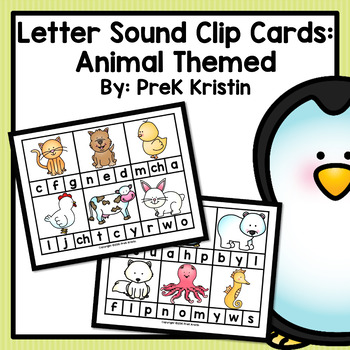 Letter Sound Clip Cards: Animal Themed