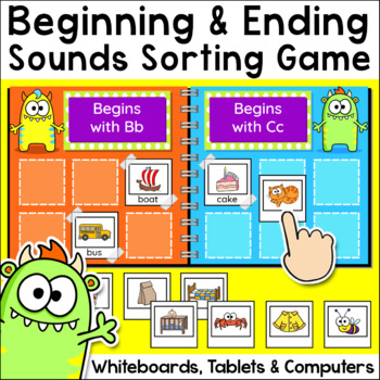 Beginning Sounds and Ending Sounds Sorting Game: Christmas