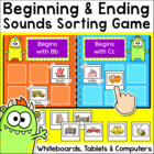 Beginning and Ending Sounds Sorting Game for Whiteboards and Computers