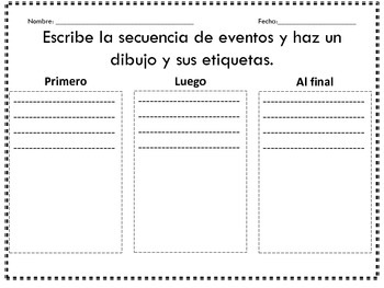 Beginning, middle, end in Spanish/ Principio, mitad, final