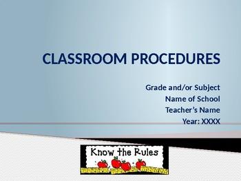 Beginning of School - Classroom Procedures Power Point