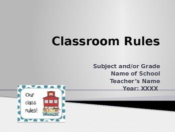 Beginning of School - Classroom Rules and Discipline