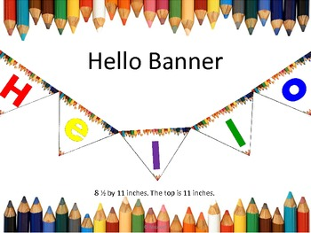 Back To School Hello Banner Colored Pencils Borders
