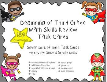 Beginning of Third Grade Math Review Task Cards