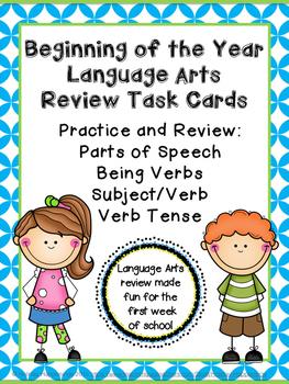 Beginning of Year Language Arts Task Cards