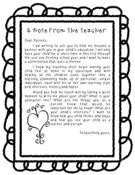 Beginning of Year Note from Teacher FREEBIE