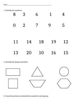 Beginning of kindergarten- Math Benchmark assessment