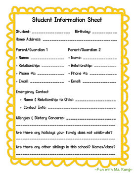 Beginning of the School Year Parent Survey