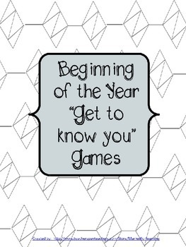 Beginning of the Year Games