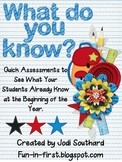 Beginning of the Year Assessments for 1st Graders