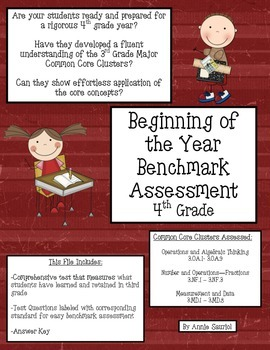 Beginning of the Year Benchmark Assessment 4th Grade Common Core