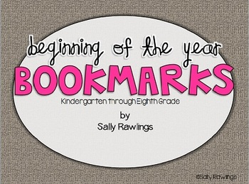 Beginning of the Year Bookmarks