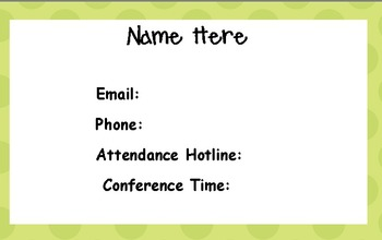 Beginning of the Year Contact Info - Editable