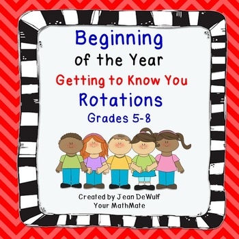 """Beginning of the Year """"Getting to Know You"""" Rotations Grades 5-8"""