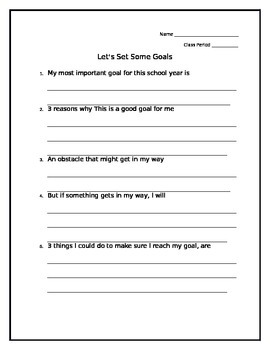 Beginning of the Year Goal Setting