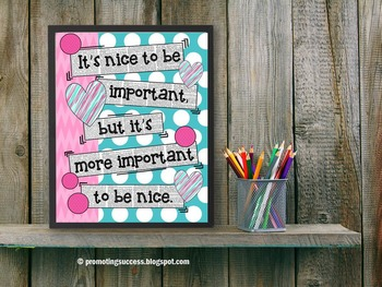 Classroom Rules Poster It's More Important to Be Nice { Cl