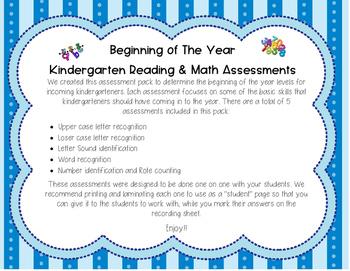 Beginning of the Year Kindergarten Assessments
