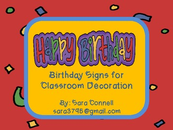 Beginning of the Year: Monthly Birthday Posters