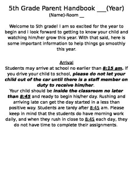 Beginning of the Year Parent Handbook-Customizable!