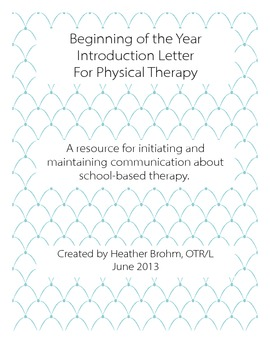 Beginning of the Year - Physical Therapy Communication
