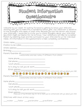 Beginning of the Year Questionnaire - for parents to fill