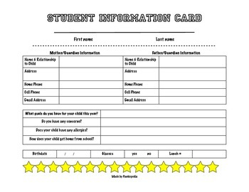 Beginning of the Year Student Information Card