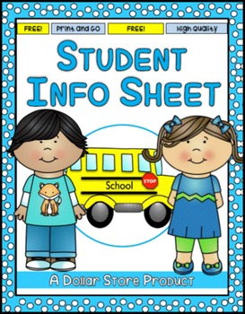 Beginning of the Year:  Student Information Sheet FREE