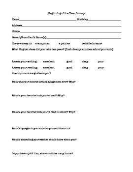 Beginning of the Year Survey
