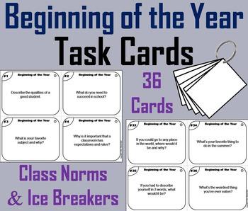 Beginning of the Year Task Cards/ First Week of School Tas