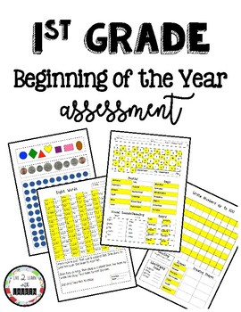 Beginning of the Year Test/ PreTest for 1st Grade