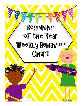 Beginning of the Year Weekly Behavior Chart with Conduct G