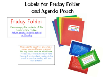 Beginning of the year Friday Folder and Agenda Pouch Label