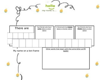 Beginning of the year NAME activity Primary Math