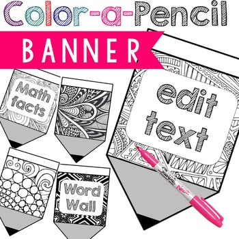 Back to school activity DIY Color a Pencil Banner (editable)