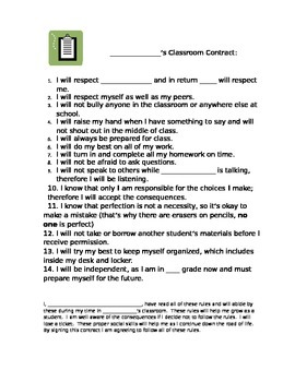 Beginning of the year classroom contract