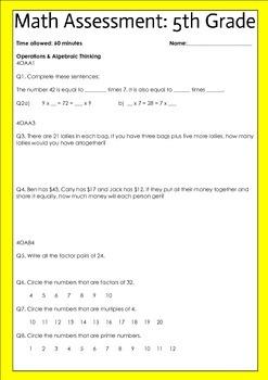 Beginning of the year math assessment 5th grade