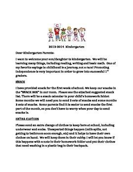 Beginning of year kindergarten parent letter
