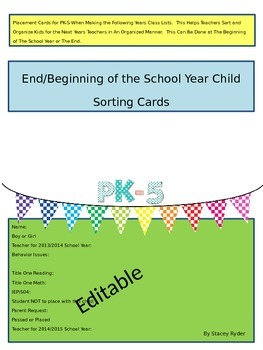 Beginning/End of the Year Placement Cards